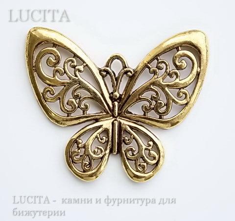 """Подвеска """"Бабочка"""" филигранная (цвет - античное золото) 57х50 мм"""