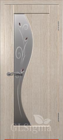 Дверь GreenLine Sigma-5, стекло матовое с фьюзингом, цвет беленый дуб, остекленная