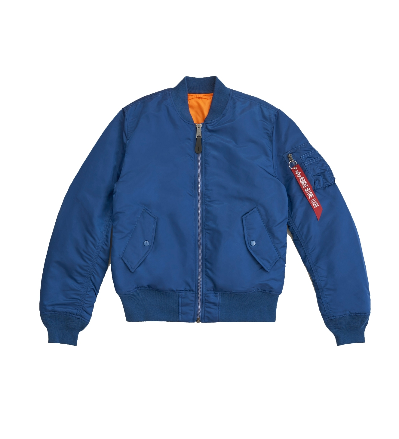 Куртка бомбер Alpha Industries MA-1 Slim Fit/European Blue №9/Orange (синяя)