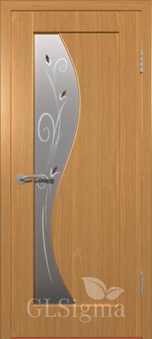 Дверь GreenLine Sigma-5, стекло матовое с фьюзингом, цвет миланский орех, остекленная