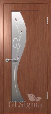 Дверь GreenLine Sigma-5, стекло матовое с фьюзингом, цвет итальянский орех, остекленная