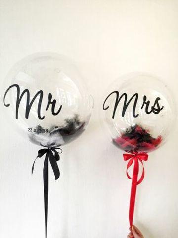 Шары с перьями на свадьбу