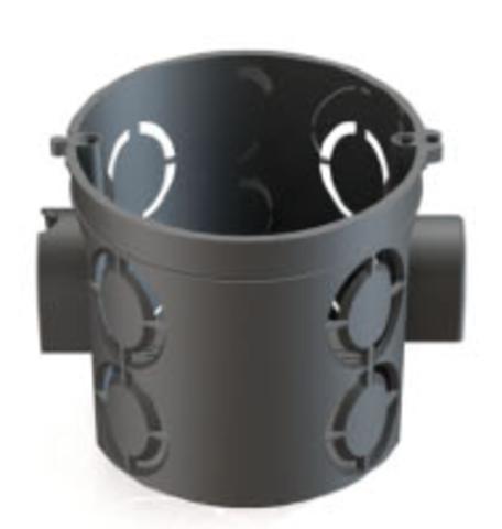 Установочная коробка СП D68х62мм, углубленная, саморезы, стыковочные узлы, черная, IP20, TDM