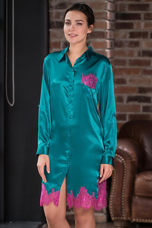 Женская рубашка домашняя из шелка изумрудная (Ночные сорочки)