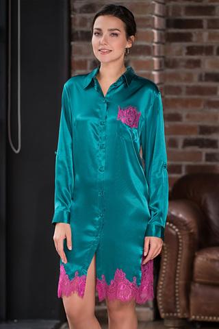 Женская рубашка домашняя из шелка изумрудная
