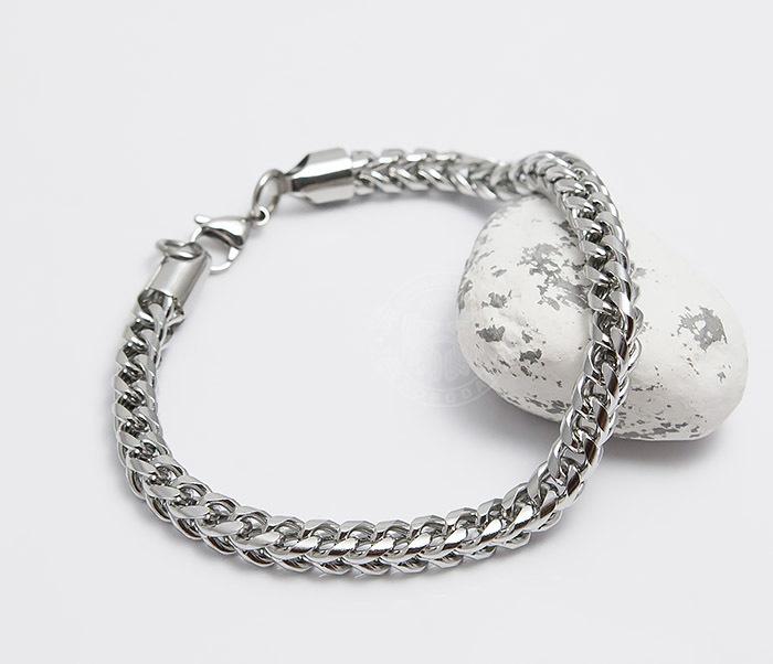 BM487 Лаконичный мужской браслет цепь из стали (25 см) фото 05