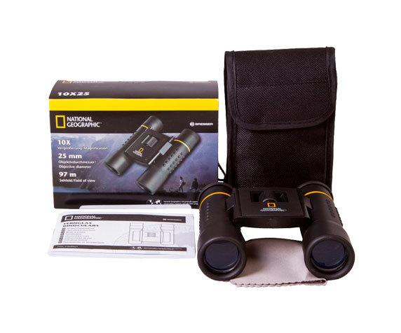Комплект поставки бинокля Bresser National Geographic 10 25