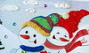 """013_8258 Большая  смешанная аппликация """"Два снеговика """""""