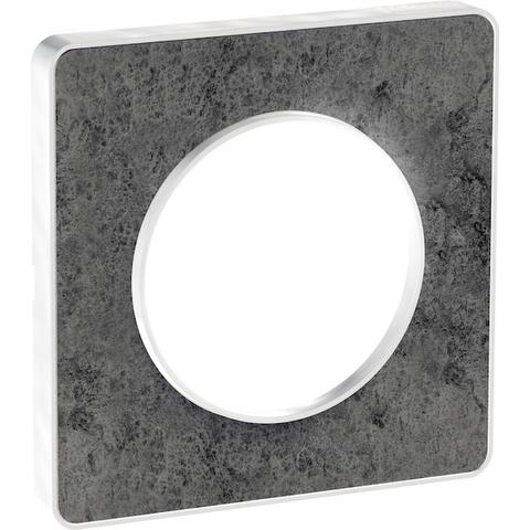 Рамка на 1 пост. Цвет Морской камень, белая вставка. Schneider Electric(Шнайдер электрик). Odace(Одес). S52P802U