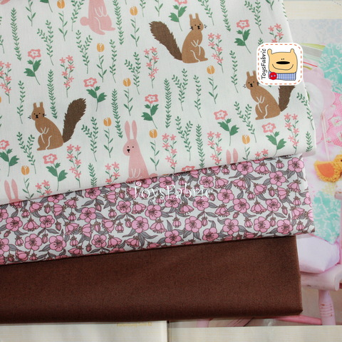 Набор тканей для пэчворка 51776 Белки и зайцы (45х35см/3шт.)