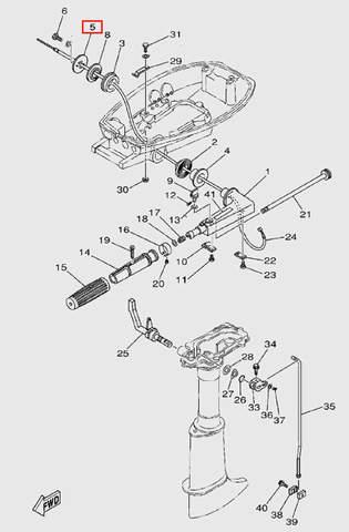 Шайба крепления румпеля  для лодочного мотора T5 Sea-PRO (9-5)