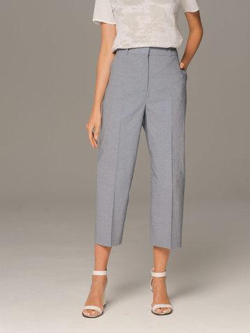 Женские классические брюки серого цвета из хлопка - фото 2