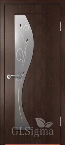 Дверь GreenLine Sigma-5, стекло матовое с фьюзингом, цвет венге, остекленная