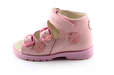 Босоножки Тотто из натуральной кожи с открытым носом для девочек, цвет розовый. Изображение 3 из 12.