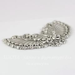 Винтажный декоративный элемент - штамп 87х56 мм (оксид серебра)