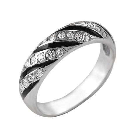 Кольцо  с чешским стеклом и серебрением