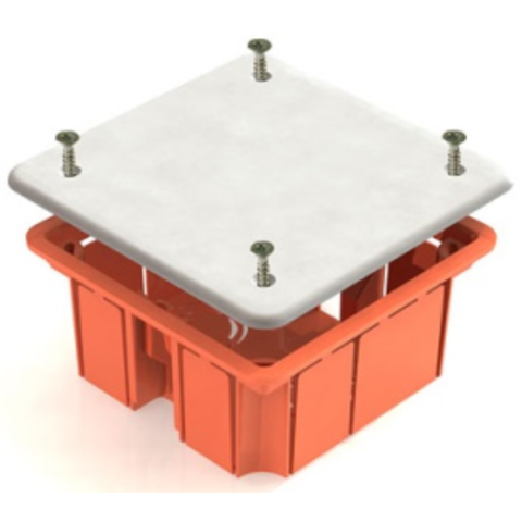 Распаячная коробка СП 92х92х45мм, крышка, пл. лапки, IP20, инд. штрихкод, TDM