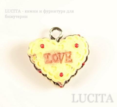 """Подвеска-тортик """"Love"""" 18х17 мм (цвет - античное серебро)"""
