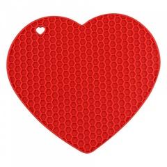 Подставка силиконовая термостойкая в форме сердца красная ВЕ-0245S