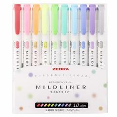 Zebra Mildliner (WKT7-10C) - купить пастельные маркеры-текстовыделители с доставкой по Москве, СПб и России