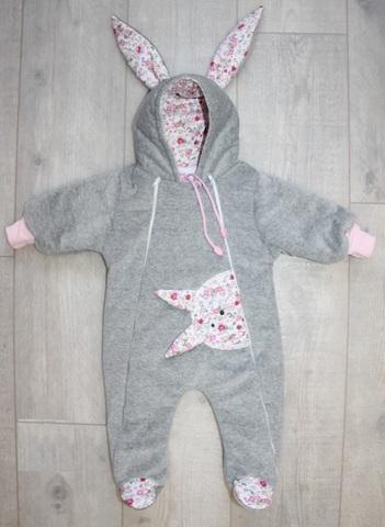 Велюровый утепленный комбинезон для новорожденного Little Bunny для девочки