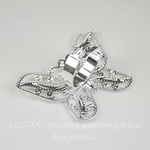 Основа для кольца с филигранной бабочкой 44х32 мм (цвет - серебро)