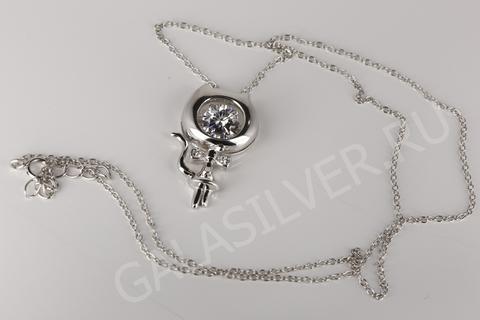 Колье с цирконом из серебра 925