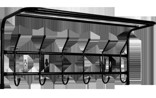 Вешалка настенная на  6 крючков ВП6  с полкой (цвет черный), Ника, г. Ижевск