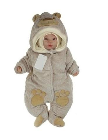 Велюровый комбинезон для новорожденного Little Bear какао