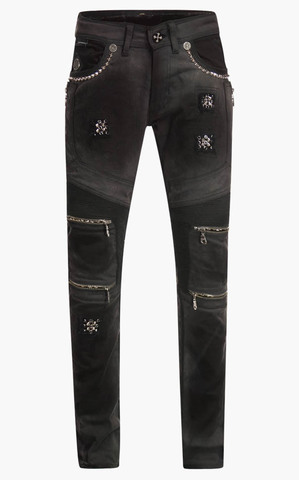 Джинсы The Saints Sinphony HEXAGRAM DARK GREY & BLACK BIKER JEANS