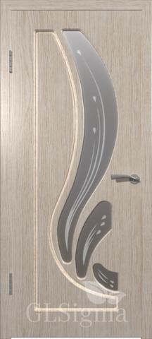 Дверь GreenLine Sigma-8, стекло матовое с фьюзингом, цвет беленый дуб, остекленная