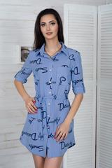 Эрика. Стильное молодежное платье-рубашка. Полоса синяя