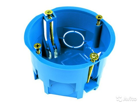 Установочная коробка СП D65х45мм, саморезы, пл. лапки, синяя, IP20, TDM