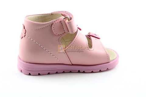 Босоножки Тотто из натуральной кожи с открытым носом для девочек, цвет розовый. Изображение 4 из 12.