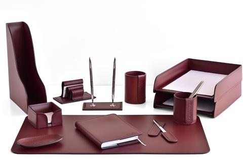 Набор настольный руководителя BUVARDO 12 предметов из кожи, цвет бордо