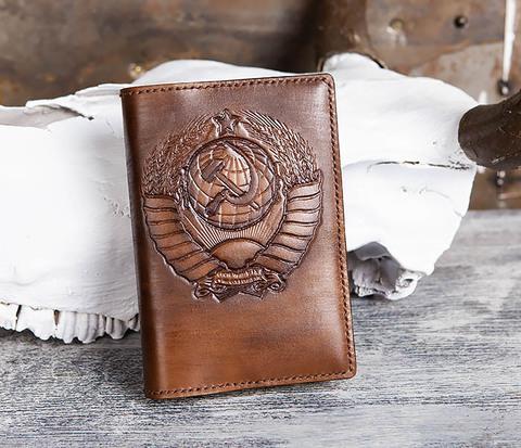 Ежедневник в кожаной обложке с гербом СССР (A6)