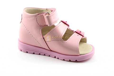Босоножки Тотто из натуральной кожи с открытым носом для девочек, цвет розовый. Изображение 2 из 12.
