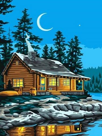 Рыбацкий домик - раскраски по номерам на картоне