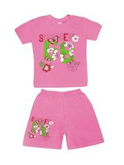 DL11-73-5-27 Комплект детский, розовый (футболка+шорты)