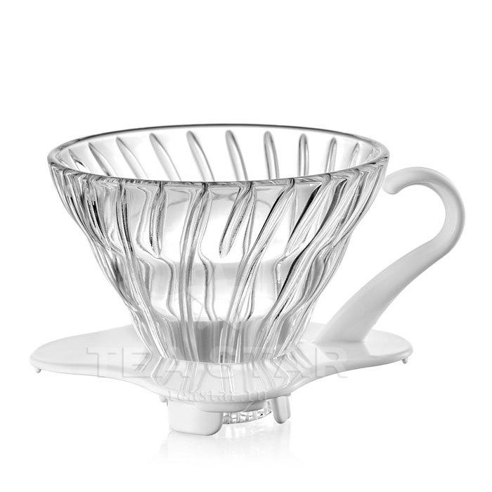 Кофейные аксессуары Воронка Hario 60, VDG-01w, стеклянная для приготовления кофе, белая Hario_V60-VDG-01w-1.jpg
