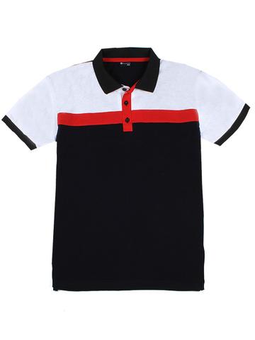 14055-11 поло мужское, бело-красное