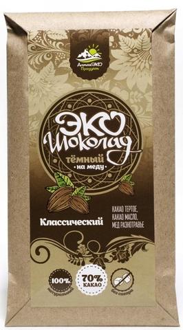 Эко шоколад на меду 70% какао классический 50 гр