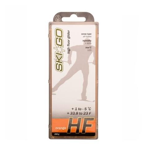 Парафин высокофтористый Skigo HF Orange (для нового мелкозерн. снега) (+1°С -5°С) 200 г.