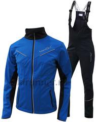 Детский утеплённый лыжный костюм Nordski Premium 2018 Blue-black с высокой спинкой