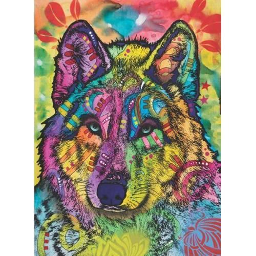Картина раскраска по номерам 40x50 Разноцветный волк ...