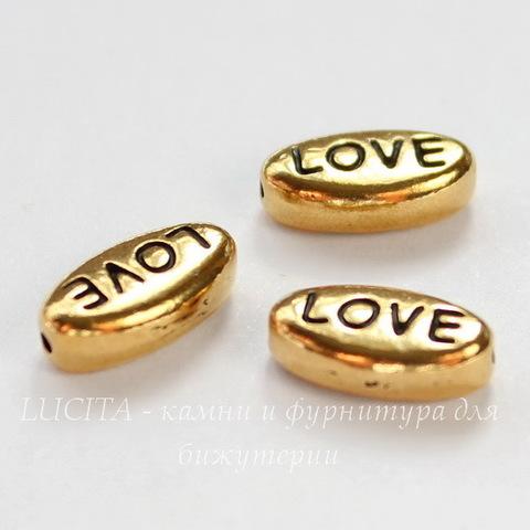 "Бусина овальная TierraCast ""Love"" 11х6х4 мм (цвет-античное золото)"