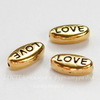 "Бусина овальная TierraCast ""Love"" (цвет-античное золото) 11х6х4 мм"