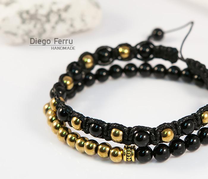 BS698 Комплект мужских браслетов из натурального камня, «Diego Ferru» фото 04