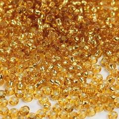 Бисер 10/0 Preciosa прозрачный с серебряным центром, золотистый
