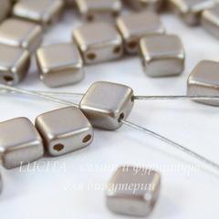 Бусина Tile mini Квадратная плоская с 2 отверстиями, 5 мм, перламутровая бежево-серая